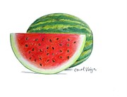 Watermelon Drawings - Watermelon by Carol Veiga