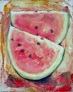Watermelon Seeds Framed Prints - Watermelon Framed Print by Sheila Diemert
