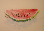 Watermelon Seeds Framed Prints - Watermelon Framed Print by Sheri Hubbard