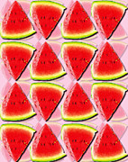 Consume Digital Art Framed Prints - Watermelon Slices Framed Print by Emma Smith