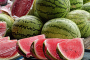 Filipino Framed Prints - Watermelons at the Market Framed Print by James Bo Insogna