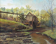 Skylines Paintings - Watermill at Daybreak  by Mary Ellen Anderson