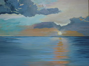 Miami Skyline Painting Originals - Waters Waking at Sunrise by Lori Royce