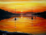 Sunset Scenes. Painting Prints - Watery Sunset at Bala lake Print by Andrew Read