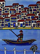 Oars Paintings - Watery Venice by Barbara St Jean