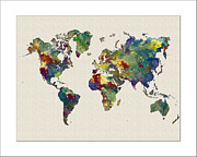 Map Of The World Painting Posters - Watetercolor World Map Poster by WaterColorMaps Chris and Mary Ann