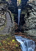 Watkins Glen New York Posters - Watkins Glen Central Cascade Poster by Robert Harmon