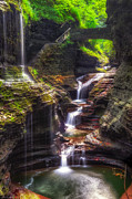 Basement Art Photo Posters - Watkins Glen Rainbow Falls Poster by Mark Papke
