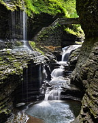 Streaming Light Prints - Watkins Glen Rainbow Falls Print by Robert Harmon