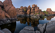 Desert Lake Art - Watson Lake Arizona Reflections by Dave Dilli