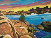 Watson Lake Painting Prints - Watson Lake Christmas Print by Kathleen  Heese
