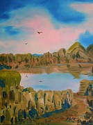 Watson Lake Paintings - Watson Lake Prescott Arizona by J FLoRian Dunn