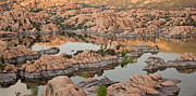 Prescott Photo Metal Prints - Watson Lake Sunset Metal Print by Angie Schutt