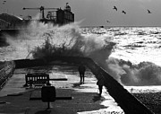 Storm Prints Framed Prints - Wave at the Pier Framed Print by Barry Goble