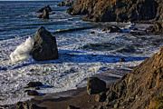 Sonoma Coast Posters - Wave breaking on rock Poster by Garry Gay