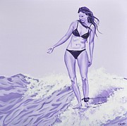 Surfer Girl Paintings - Wave Maiden by Jessi Smith