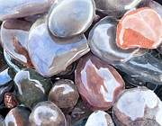 Joan A Hamilton Metal Prints - Wave Polished Stones Metal Print by Joan A Hamilton