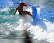 Sports Male Posters - Wave Rider Poster by Karen Wiles