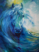 Marcia Baldwin Framed Prints - Wave Runner Blue Ghost Equine Framed Print by Marcia Baldwin