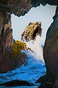 Cliffs Over Ocean Posters - Wave through the Cave at Pfiffer Beach in Big Sur Poster by Author and Photographer Laura Wrede
