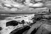 California Seascape Prints - Wave Wash - Black and White Print by Peter Tellone