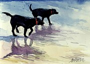 Black Dogs Framed Prints - Waverunners Framed Print by Molly Poole