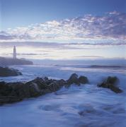 Featured Framed Prints - Waves And Cap Des Rosiers Lighthouse Framed Print by Claude Bouchard