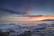 Pink Sunset Posters - Waves and sunset Poster by Guido Montanes Castillo