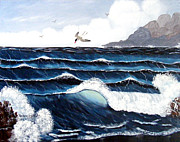 Storm Prints Posters - Waves and Tern Poster by Barbara Griffin