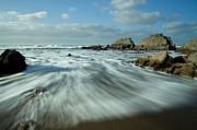 Waves At Blegberry Beach Print by Pete Hemington
