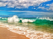 Hana Paintings - Waves at Makena Beach by Dominic Piperata