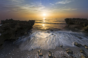 Spring Scenes Posters - Waves at Sunrise Poster by Debra and Dave Vanderlaan