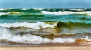 Lake Michigan Digital Art Metal Prints - Waves Crash Metal Print by Michelle Calkins