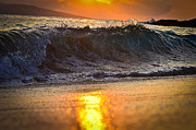 Tropical Photographs Photos - Waves Crashes during Sunset by Puget  Exposure