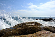 Rocky Maine Coast Posters - Waves Crashing Poster by Olivier Le Queinec