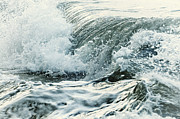 Seascape Posters - Waves in stormy ocean Poster by Elena Elisseeva