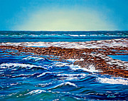 Midday Painting Posters - Waves of Blue Poster by Donna Proctor