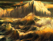 Acrylic Seascape Digital Art Posters - Waves of the Northern Seas Poster by Ernest Tang