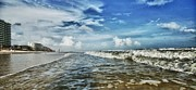 Fence Digital Art Originals - Waves on Orange Beach by Michael Thomas
