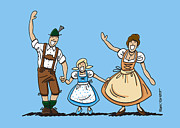 Celebration Posters - Waving Bavarian Couple With Daughter Poster by Frank Ramspott