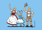 Frank Ramspott Digital Art - Waving Dirndl And Lederhosen Family by Frank Ramspott