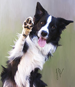 Collie Digital Art Posters - Waving Poster by Laura Rothstein