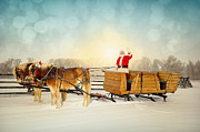 Sled.fence Prints - Waving Santa With Sleigh and Team of Horses Print by Kriss Russell