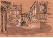 Sepia Chalk Drawings Prints - Wawel castel Cracow 2 Print by Monika Golebiowska