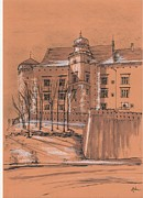 Sepia Ink Drawings - Wawel castel Cracow by Monika Golebiowska