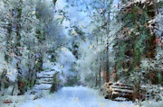 Snow-covered Landscape Digital Art Posters - Way through the Forest Poster by Regina Koch