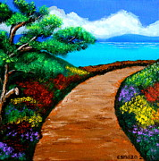 Pathway Paintings - Way to the Sea by Cyril Maza