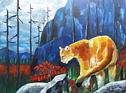Mountain Lion Paintings - Way Up a Blue Canyon by Harriet Peck Taylor