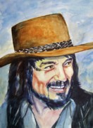 Country Music Painting Originals - Waylon Jennings by Brian Degnon
