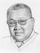 Pencil Portrait Drawings Prints - Waymond - Workaholics Print by Olga Shvartsur